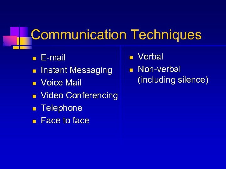 Communication Techniques n n n E-mail Instant Messaging Voice Mail Video Conferencing Telephone Face