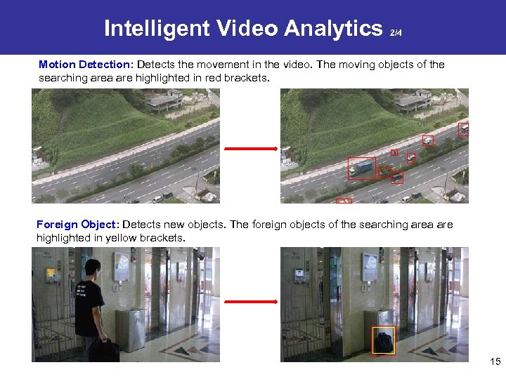 Intelligent Video Analytics 2/4 Motion Detection: Detects the movement in the video. The moving