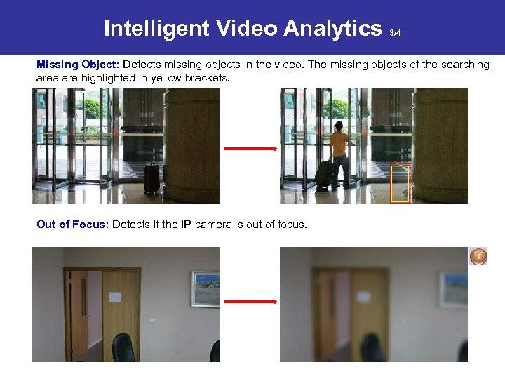 Intelligent Video Analytics 3/4 Missing Object: Detects missing objects in the video. The missing