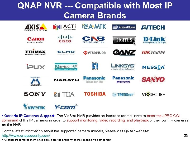 QNAP NVR --- Compatible with Most IP Camera Brands • Generic IP Cameras Support: