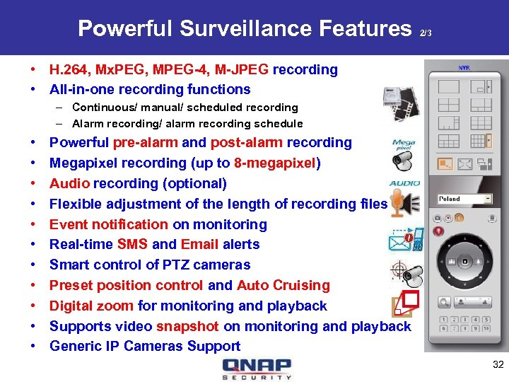 Powerful Surveillance Features 2/3 • H. 264, Mx. PEG, MPEG-4, M-JPEG recording • All-in-one
