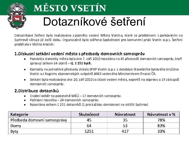 Dotazníkové šetření bylo realizováno z podnětu vedení Města Vsetína, které se problémem s parkováním