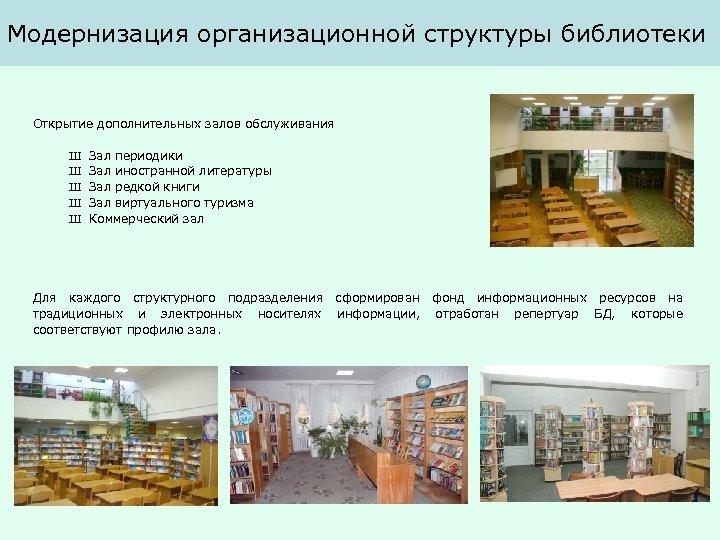 Модернизация организационной структуры библиотеки Открытие дополнительных залов обслуживания Ш Ш Ш Зал периодики Зал