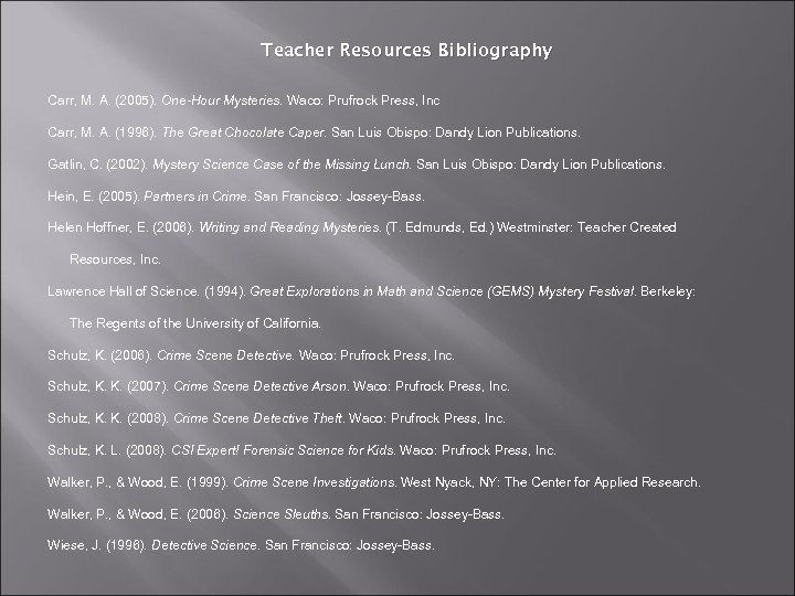 Teacher Resources Bibliography Carr, M. A. (2005). One-Hour Mysteries. Waco: Prufrock Press, Inc Carr,