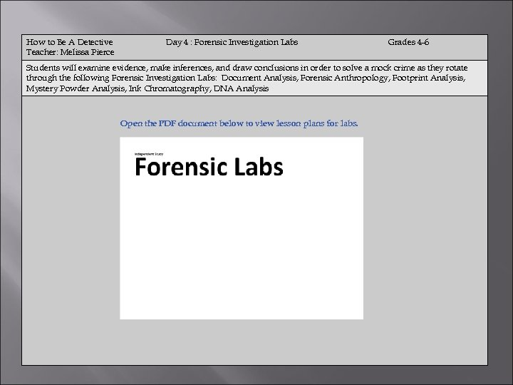 How to Be A Detective Teacher: Melissa Pierce Day 4 : Forensic Investigation Labs