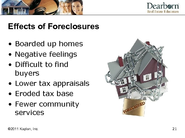 Effects of Foreclosures • Boarded up homes • Negative feelings • Difficult to find