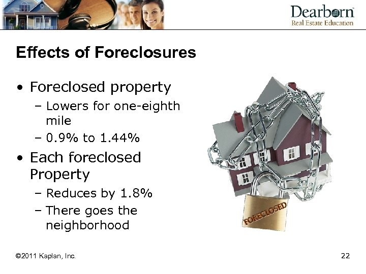Effects of Foreclosures • Foreclosed property – Lowers for one-eighth mile – 0. 9%