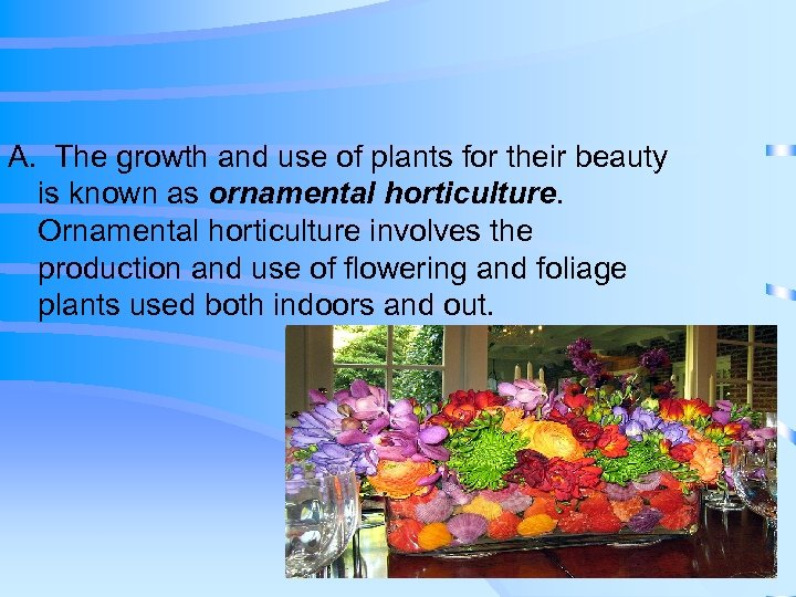 A. The growth and use of plants for their beauty is known as ornamental