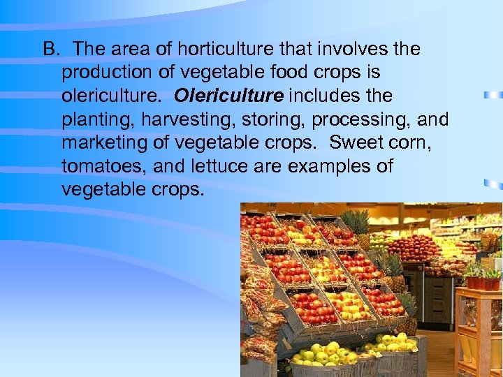 B. The area of horticulture that involves the production of vegetable food crops is