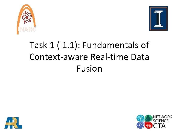 INARC Task 1 (I 1. 1): Fundamentals of Context-aware Real-time Data Fusion