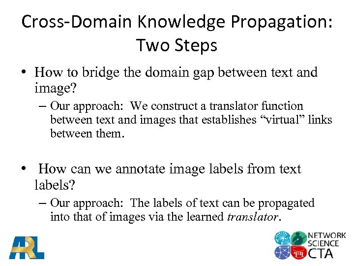 Cross-Domain Knowledge Propagation: Two Steps • How to bridge the domain gap between text