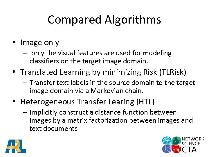 Compared Algorithms • Image only – only the visual features are used for modeling