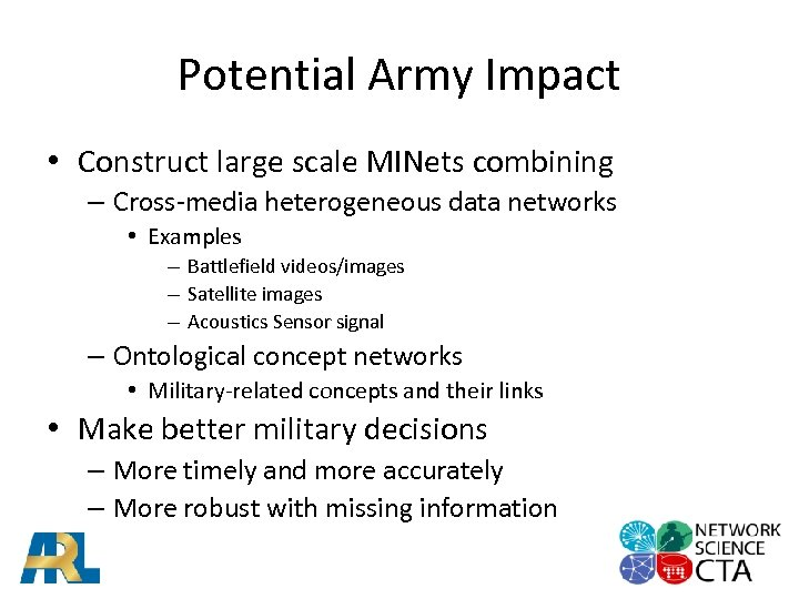 Potential Army Impact • Construct large scale MINets combining – Cross-media heterogeneous data networks