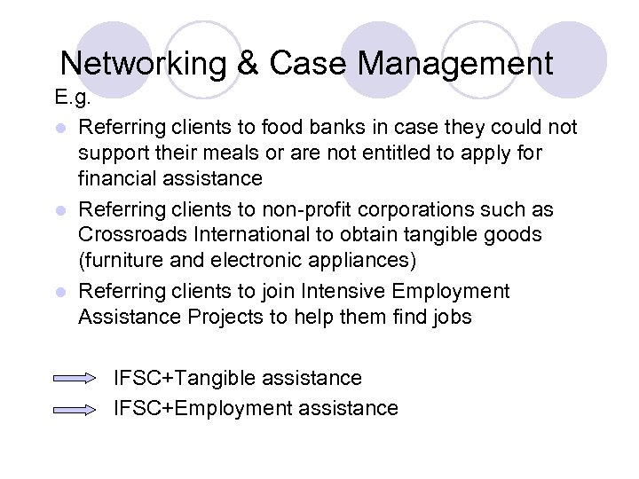 Networking & Case Management E. g. l Referring clients to food banks in case