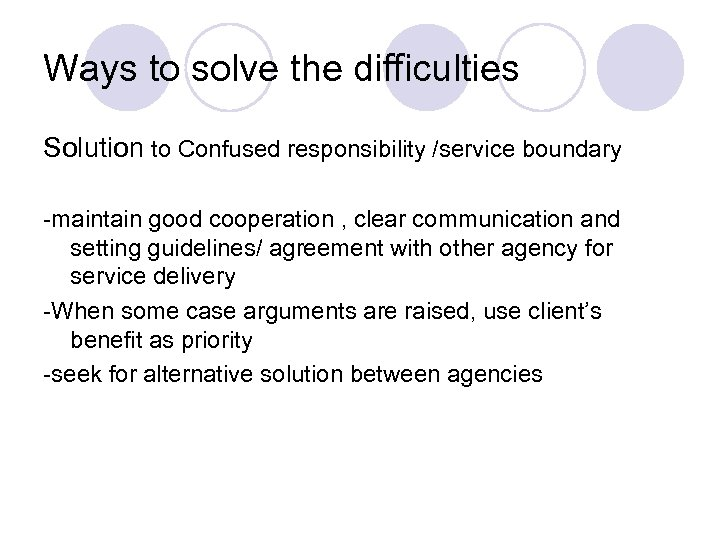 Ways to solve the difficulties Solution to Confused responsibility /service boundary -maintain good cooperation