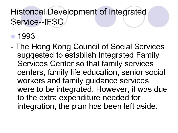 Historical Development of Integrated Service--IFSC l 1993 - The Hong Kong Council of Social