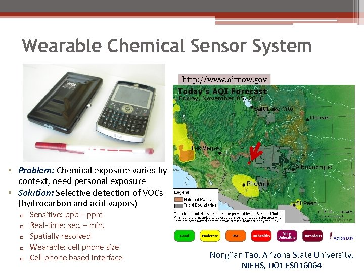 Wearable Chemical Sensor System http: //www. airnow. gov • Problem: Chemical exposure varies by