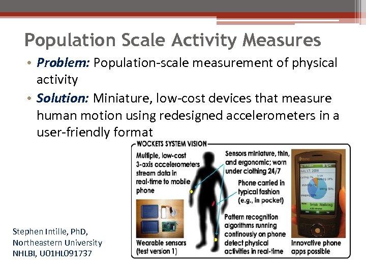 Population Scale Activity Measures • Problem: Population-scale measurement of physical activity • Solution: Miniature,