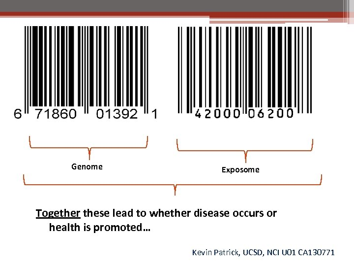 Genome Exposome Together these lead to whether disease occurs or health is promoted… Kevin