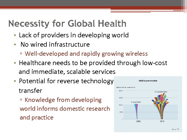 Necessity for Global Health • Lack of providers in developing world • No wired