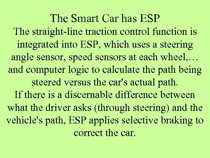 The Smart Car has ESP The straight-line traction control function is integrated into ESP,