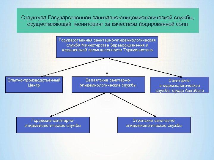 Структура Государственной санитарно-эпидемиологической службы, осуществляющей мониторинг за качеством йодированной соли Государственная санитарно-эпидемиологическая служба Министерства