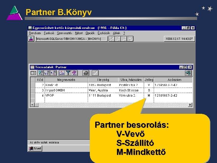 Partner B. Könyv Partner besorolás: V-Vevő S-Szállító M-Mindkettő