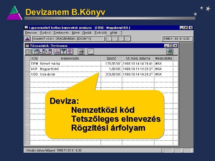Devizanem B. Könyv Deviza: Nemzetközi kód Tetszőleges elnevezés Rögzítési árfolyam