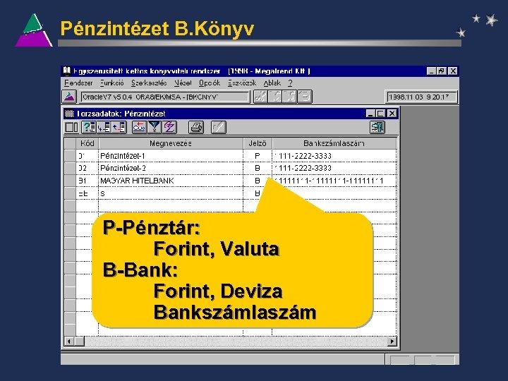 Pénzintézet B. Könyv P-Pénztár: Forint, Valuta B-Bank: Forint, Deviza Bankszámlaszám