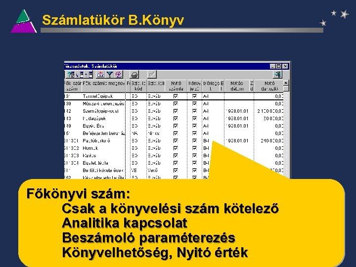 Számlatükör B. Könyv Főkönyvi szám: Csak a könyvelési szám kötelező Analitika kapcsolat Beszámoló paraméterezés
