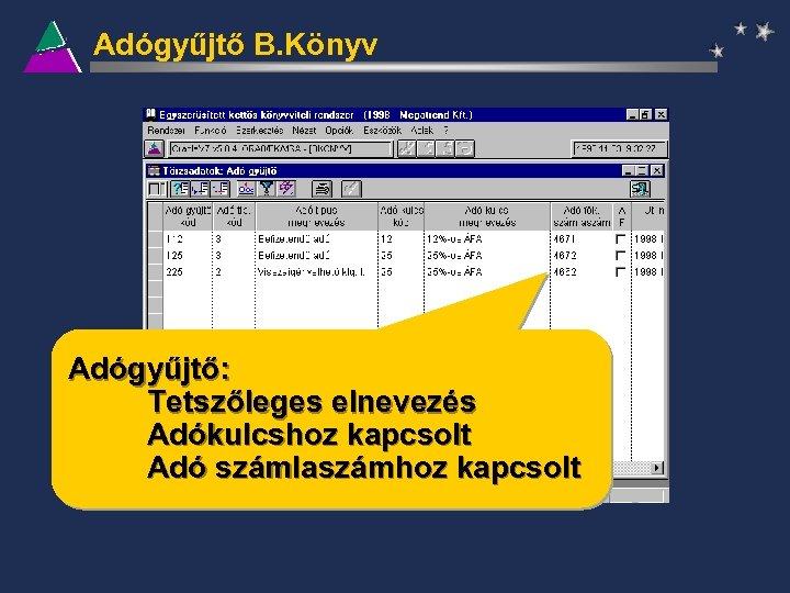 Adógyűjtő B. Könyv Adógyűjtő: Tetszőleges elnevezés Adókulcshoz kapcsolt Adó számlaszámhoz kapcsolt