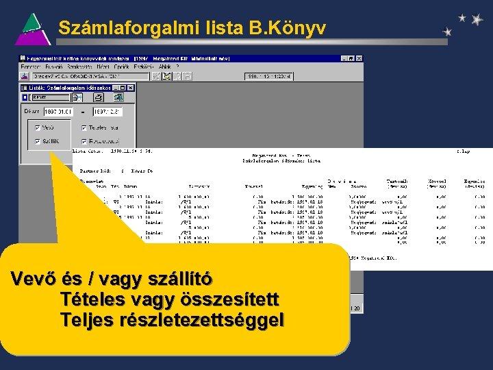 Számlaforgalmi lista B. Könyv Vevő és / vagy szállító Tételes vagy összesített Teljes részletezettséggel