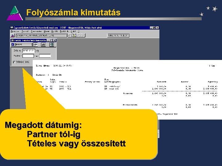Folyószámla kimutatás Megadott dátumig: Partner tól-ig Tételes vagy összesített