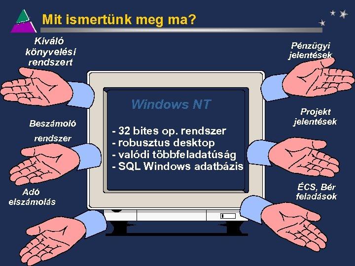 Mit ismertünk meg ma? Kiváló könyvelési rendszert Pénzügyi jelentések Windows NT Beszámoló rendszer Adó