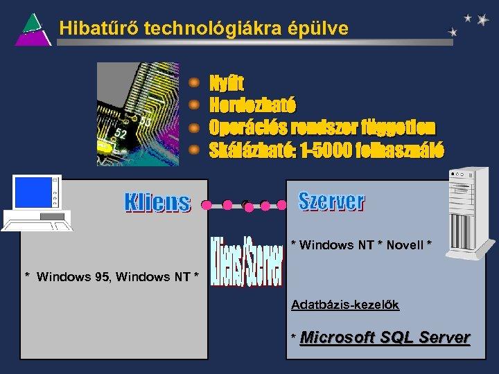 Hibatűrő technológiákra épülve Nyílt Hordozható Operációs rendszer független Skálázható: 1 -5000 felhasználó * Windows