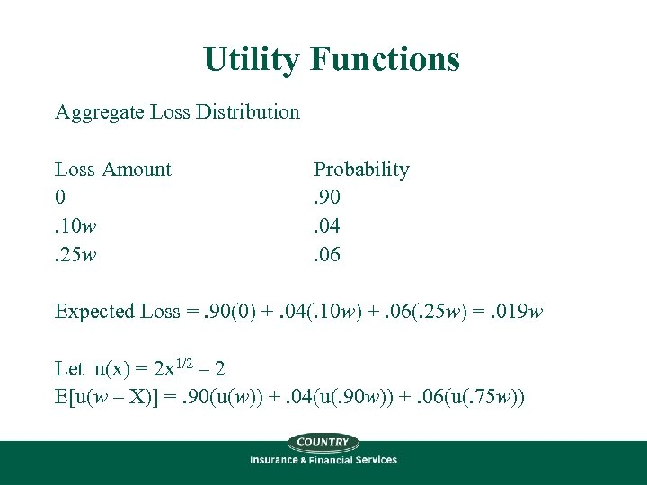 Utility Functions Aggregate Loss Distribution Loss Amount 0. 10 w. 25 w Probability. 90.