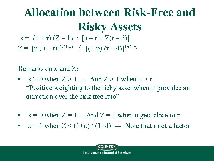 Allocation between Risk-Free and Risky Assets x = (1 + r) (Z – 1)