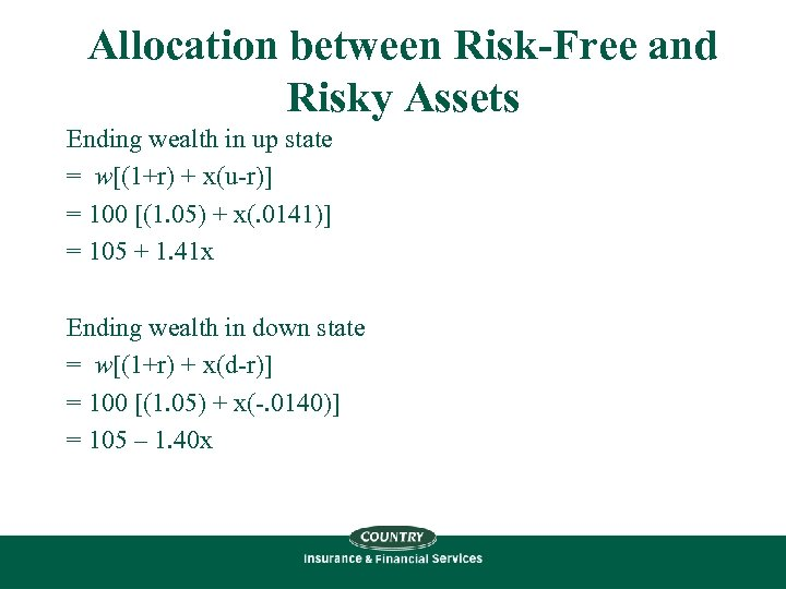 Allocation between Risk-Free and Risky Assets Ending wealth in up state = w[(1+r) +