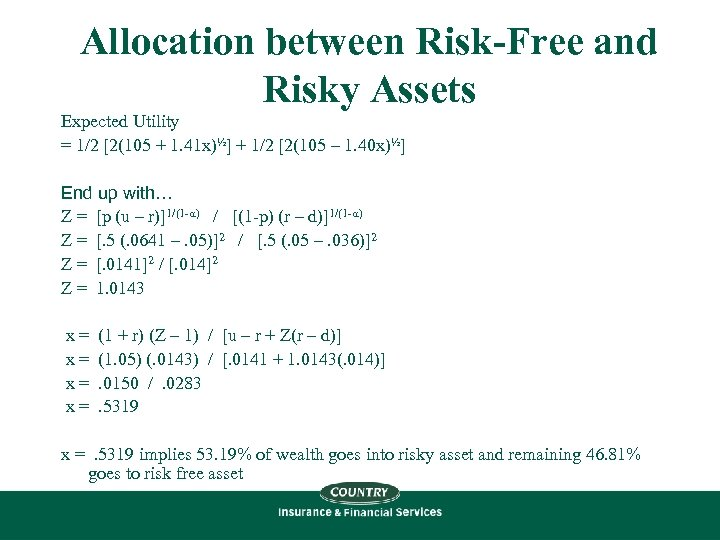 Allocation between Risk-Free and Risky Assets Expected Utility = 1/2 [2(105 + 1. 41