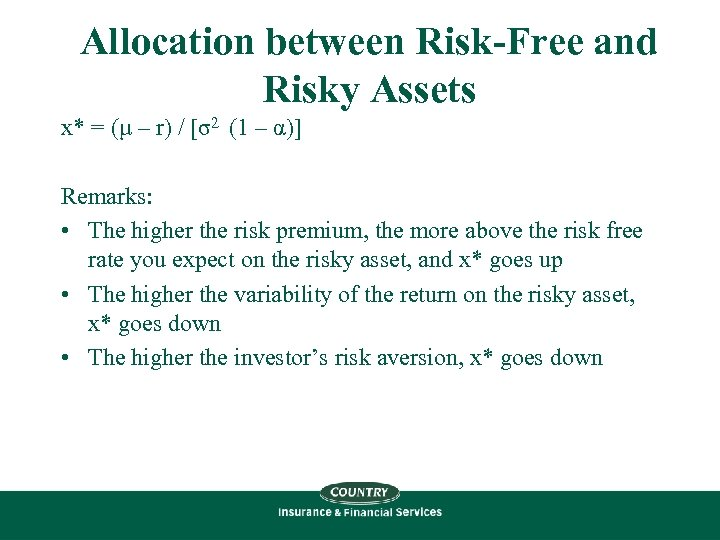 Allocation between Risk-Free and Risky Assets x* = (μ – r) / [σ2 (1
