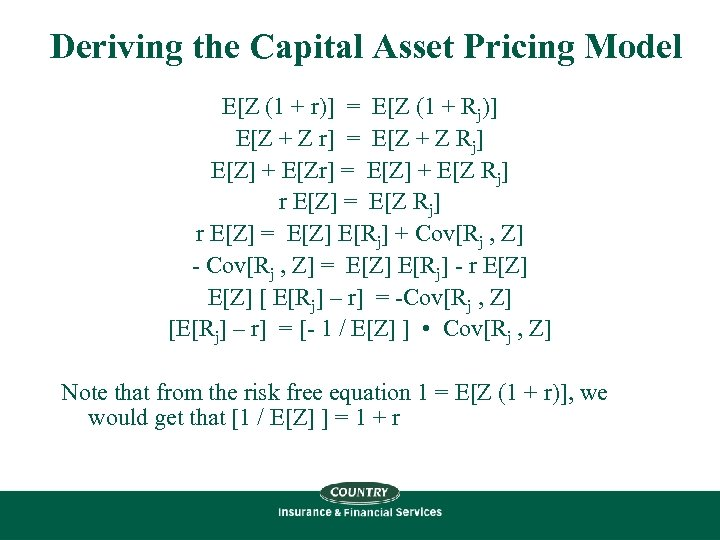 Deriving the Capital Asset Pricing Model E[Z (1 + r)] = E[Z (1 +