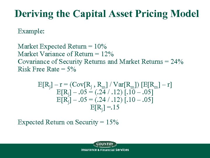 Deriving the Capital Asset Pricing Model Example: Market Expected Return = 10% Market Variance