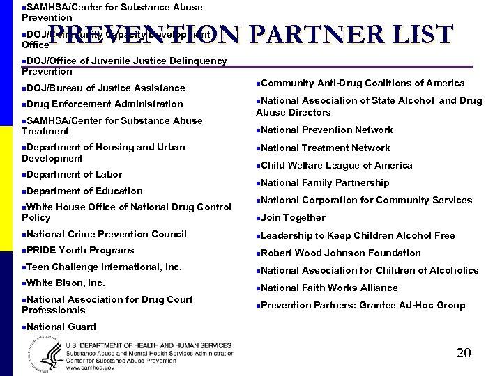 n. SAMHSA/Center Prevention for Substance Abuse PREVENTION PARTNER LIST n. DOJ/Community Office n. DOJ/Office