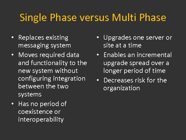 Single Phase versus Multi Phase • Replaces existing messaging system • Moves required data