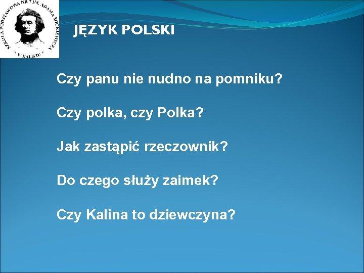JĘZYK POLSKI Czy panu nie nudno na pomniku? Czy polka, czy Polka? Jak zastąpić