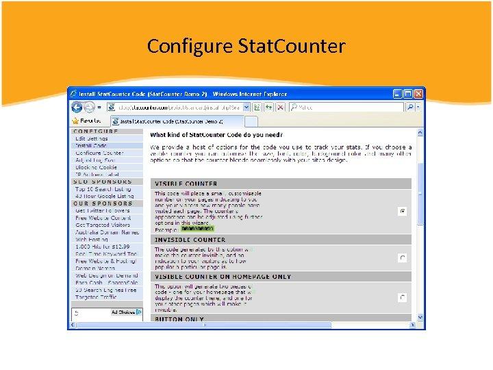 Configure Stat. Counter
