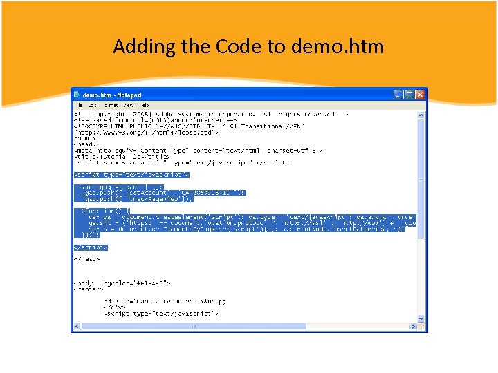 Adding the Code to demo. htm
