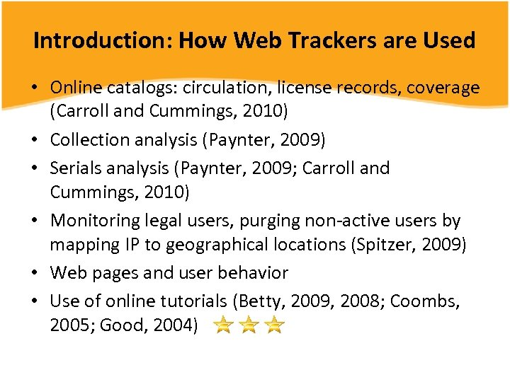 Introduction: How Web Trackers are Used • Online catalogs: circulation, license records, coverage (Carroll