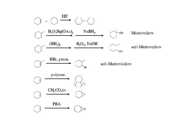 HF H 2 O, Hg(OAc)2 (BH 3)2 Na. BH 4 H 2 O 2,