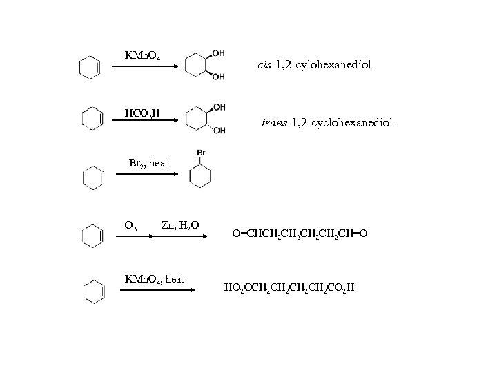 KMn. O 4 cis-1, 2 -cylohexanediol HCO 3 H trans-1, 2 -cyclohexanediol Br 2,